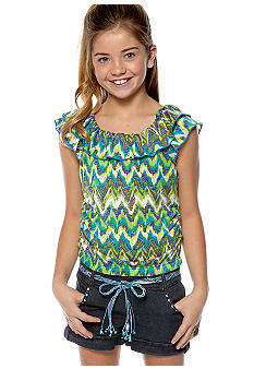 Sequin Hearts Stripe Belted Romper Girls 7-16