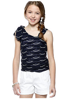Sequin Hearts Navy To White Tiered Romper Girls 7-16