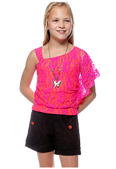 Sequin Hearts Lace Romper Girls 7-16