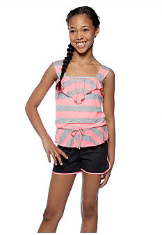 Sequin Hearts Neon Stripe Romper Girls 7-16