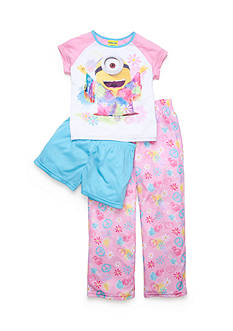 minions™ 3-Piece Floral Character Pajama Set Girls 4-10