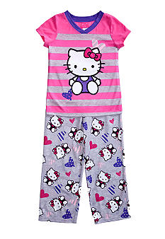 Hello Kitty by Sanrio Stripe 2-piece Pajama Set Girls 4-10