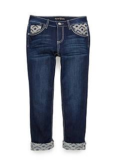 Imperial Star Boyfriend Embroidered Cuff Capri Pants Girls 7-16