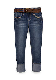 Imperial Star High Cuff Suede Belted Capri Pants Girls 7-16