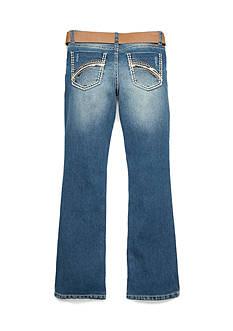 Imperial Star Medium Wash Bootcut Brown Belt Jeans Girls 7-16