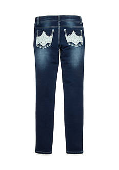 Imperial Star Skinny Knit with Lace Back Pocket Detail Jeans Girls 7-16