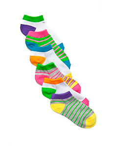 J Khaki™ Neon Stripe Low Cut 6-Pair Pack Girls 4-16
