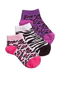 J Khaki Animal 3-Pack Socks Girls 4-16