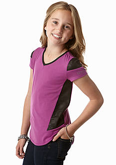 DKNY Faux Leather Pieced Tee Girls 7-16
