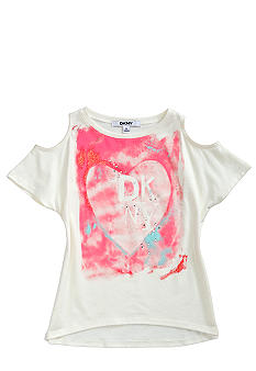 DKNY Heart Print Cutout Tee Girls 4-6X