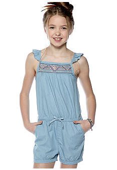 DKNY Seaside Chambray Romper Girls 7-16