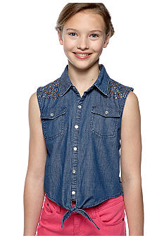 DKNY Studded Denim Vest Top Girls 7-16