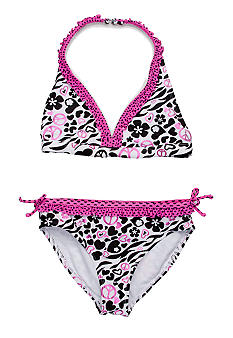 Angel Beach Heart Zebra Bikini Girls 7-16