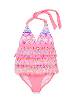 Angel Beach 2-Piece Spectrum Printed Mesh Ruffle Tankini Girls 7-16