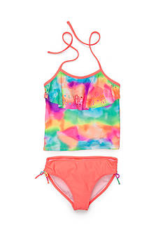 Angel Beach 2-Piece Tie Dye Laser Cut Tankini Girls 7-16
