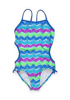 Angel Beach Cracked Foil Chevron Swimsuit Girls 7-16
