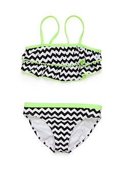Angel Beach 2-Piece Chevron Pom Pom Trim Bikini Girls 7-16