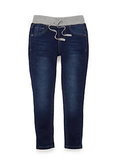 JK Indigo Ribbed Waist Skinny Knit Jeans Girls 4-6x