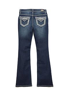 Red Camel Mesh Accented Pocket Bootcut Jeans Girls 7-16