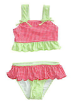 J Khaki Gingham 2-Piece Swimwear Girls 4-6X