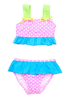 J Khaki 2-Piece Polka Dot Ruffle Swimsuit Girls 4-6X