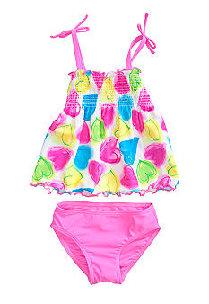 J Khaki Tiered Heart 2 Piece Girls 4-6X
