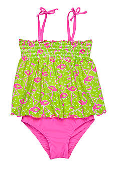 J Khaki Flamingo Two Piece Girls 4-6X