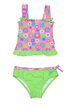 J Khaki Gingham Floral Two Piece Girls 4-6X
