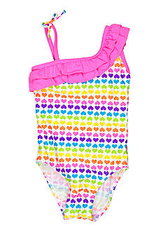 J Khaki 1-Piece Rainbow Heart Swimsuit Girls 4-6X