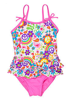 J Khaki 1-Piece Floral Swimsuit Toddler Girls