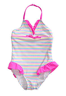J Khaki Striped 1-Piece Swimsuit Girls 4-6X