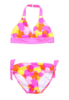 J Khaki 2-Piece Heart Camo Love Swimsuit Girls 7-16