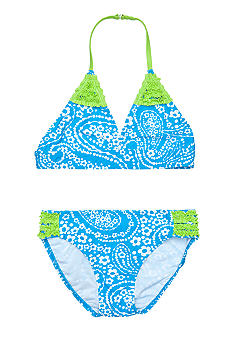 J Khaki Paisley Print 2-Piece Swim Suit Girls 7-16