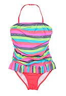 J Khaki™ One Piece Pretty Stripe Swimsuit Girls 7-16