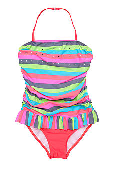 J Khaki One Piece Pretty Stripe Swimsuit Girls 7-16