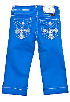 Miss Me Girls Blue Cross Cuffed Capri Girls 7-16