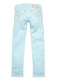 Miss Me Girls Color Cross Embellishment Pocket Skinny Denim Girls 7-16