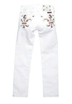 Miss Me Girls Color Fleur De Lis Flower Pocket Skinny Denim Girls 7-16