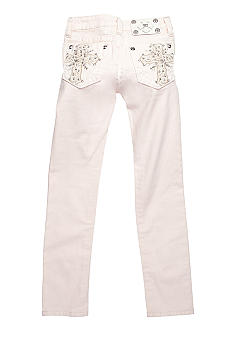 Miss Me Girls Color Bedazzled Cross Pocket Skinny Denim Girls 7-16