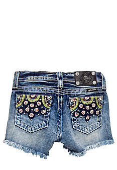 Miss Me Girls Denim Flower Detailed Short Girls 7-16