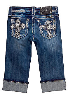 Miss Me Girls Bedazzled Cross Pocket Capri Girls 7-16