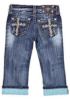 Miss Me Girls Cross Pocket Cuffed Capri Girls 7-16