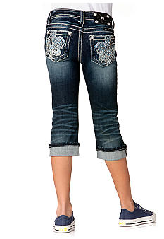 Miss Me Girls Denim Fleur De Lis Capri Girls 7-16