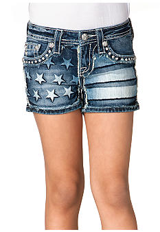 Miss Me Girls American Flag Print Short Girls 7-16