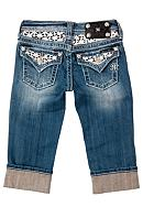 Miss Me Girls White Daisy Pearl Inlay Lace Capri Girls 7-16