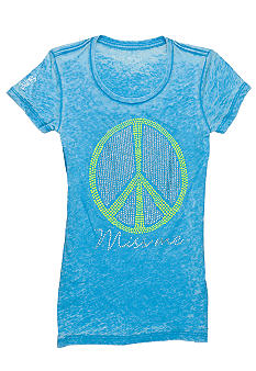 Miss Me Girls Peace Logo Tee Girls 7-16