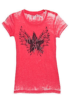 Miss Me Girls Star Angel Wing Logo Tee Girls 7-16