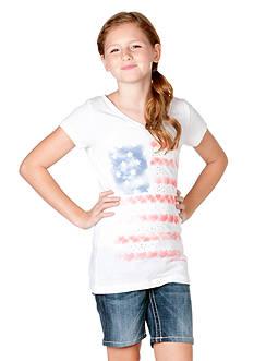 Miss Me Girls American Heart Flag Tee Girls 7-16