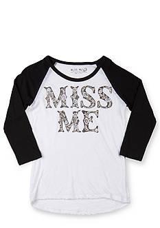 Miss Me Girls Logo Baseball Tee Girls 7-16
