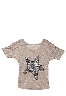 Miss Me Girls Gray Star Sequin Top Girls 7-16